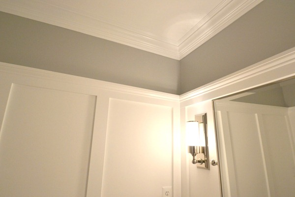 powder room transformed with molding on walls 2