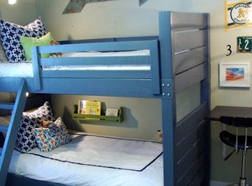 Boys Bedroom with Blue Wood Bunk Beds
