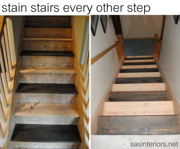 how to redo stairs staining the treads