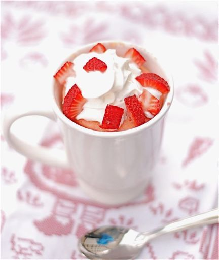 microwave Strawberries & Cream Mug Cake