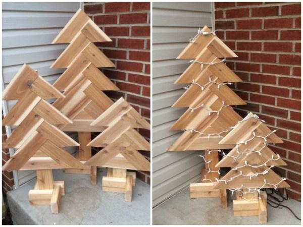 DIY Wooden Pine Tree, Christmas Tree, Free Herringbone Tree Building Plans From Remodelaholic