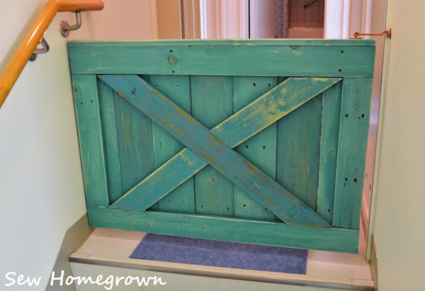 Aqua Turquoise Barn Door Baby Gate For Stairs, Building Plan By Remodelaholic, Built By Sew Homegrown