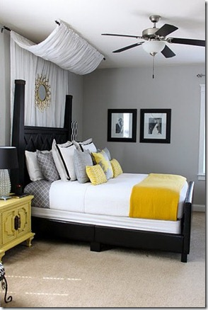 yellow and grey wall decor at home and interior design ideas