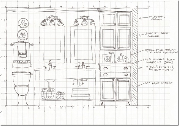 Bathroom elevation sketch