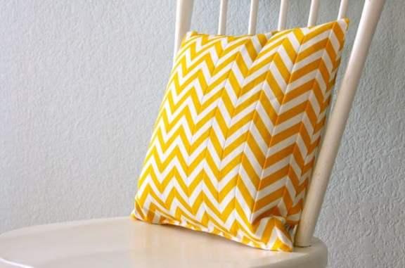 yellow chevron pillow