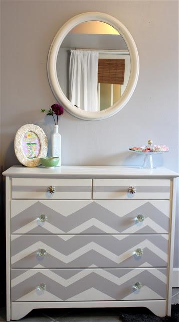 gray dresser chevron stripes painted