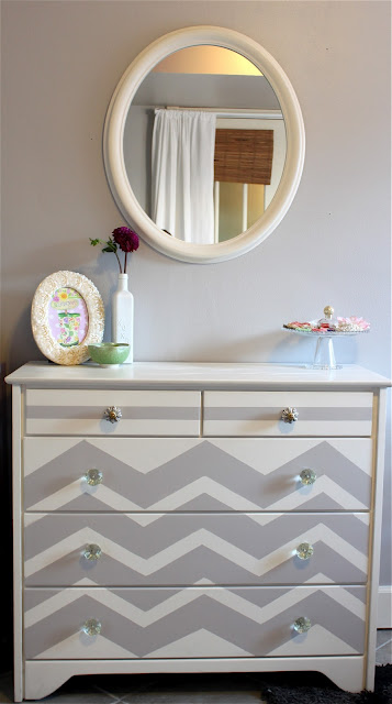 gray dresser chevron stripes painted
