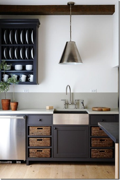 open shelves with baskets kitchen