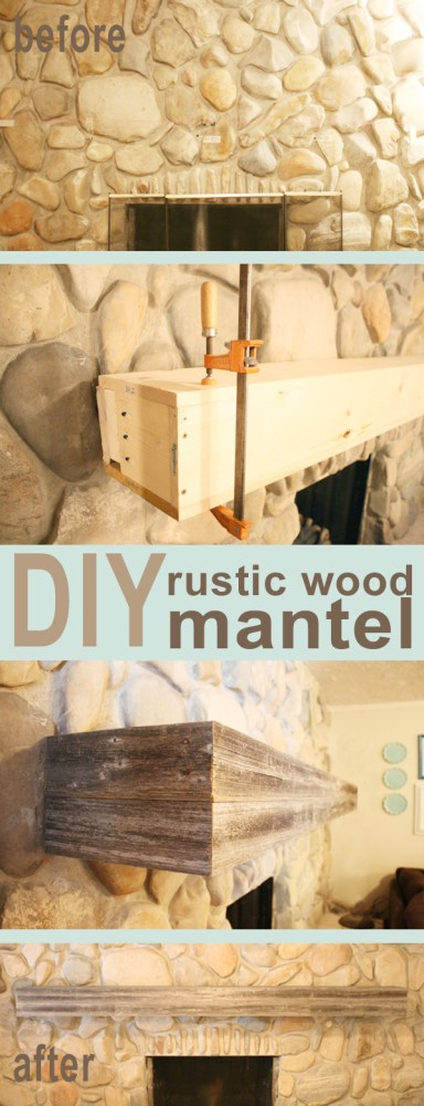 DIY rustic wood mantel