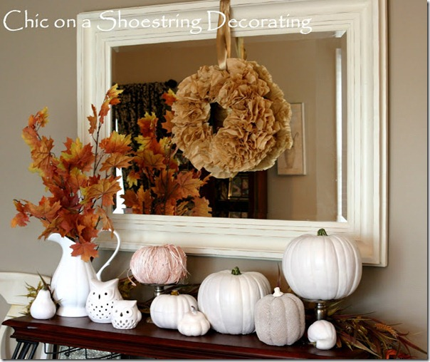 Fall Mantel White Pumpkins 2011 55