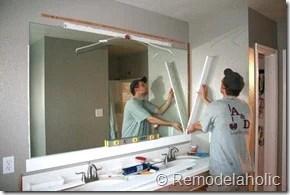 remodelaholic | framing a large bathroom mirror