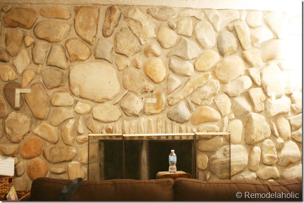 Installing a wood mantel on a stone wall (16)