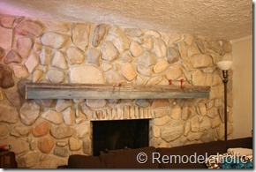 Installing a wood mantel on a stone wall (78)