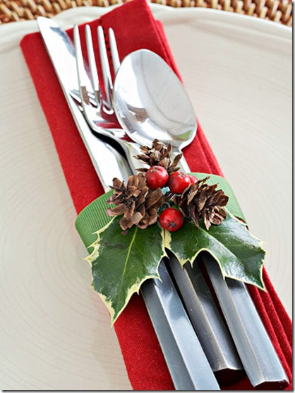 BHG cranberry and holly silverware wrap