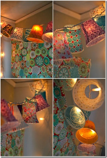 DIY crafty projects clear cup lampshades