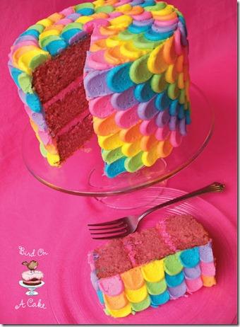 Bird on a Cake Rainbow petal cake