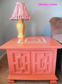 Christy's Cuties coral end table