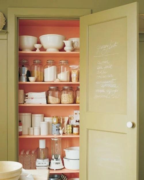 Martha Stewart coral pantry shelves