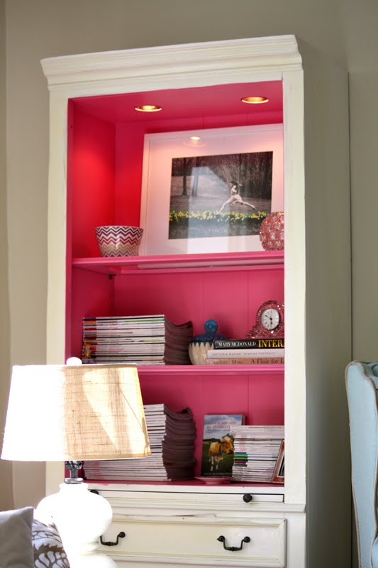 My Old Country House pink bookcase shelves