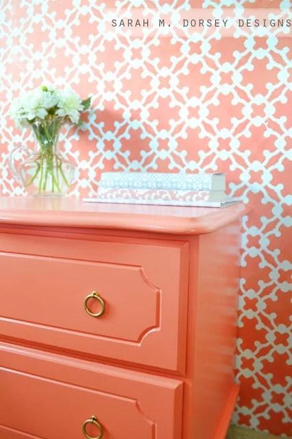 Sarah M. Dorsey Designs coral bedside table