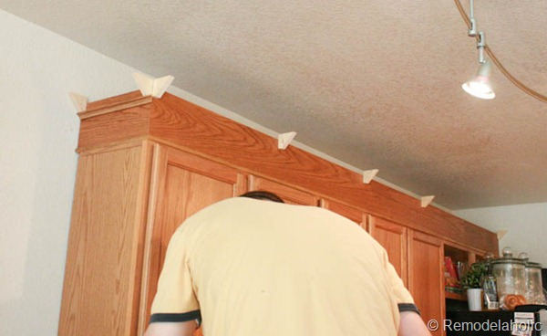 Upgrade Oak Kitchen Cabinets With Crown Moldings-19