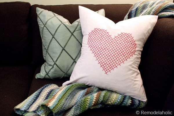 Valentine Pillow cover heart embroidery large scale pink red pillow heart (17)