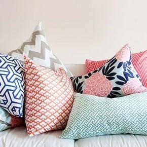 pink and navy throw pillow inspiration