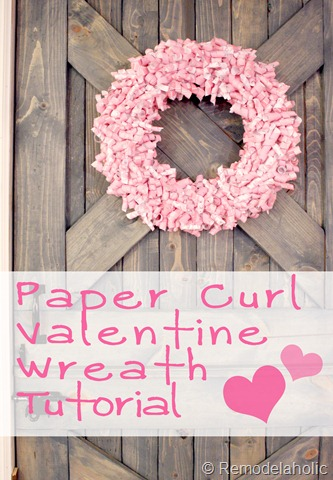 An easy but pretty way to dress up your home for Valentine's Day. Steps for making a Pink Paper Curl Valentine Wreath craft idea at Remodelaholic.com
