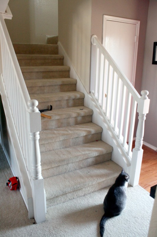 budget stair remodel before