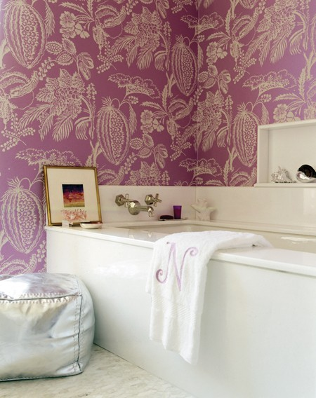 Canadian House & Home purple papered bath