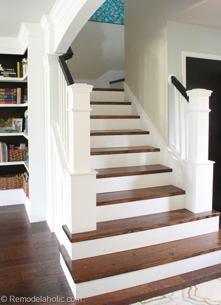 Stair Makeover removing carpet from stairs custom newel post plans