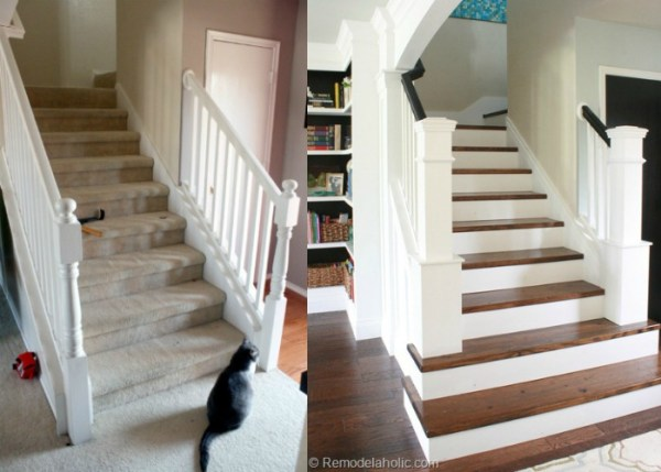 Before After Carpet To Wood Staircase Park House @Remodelaholic