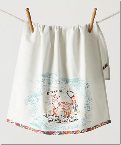 Anthro fox dish towel