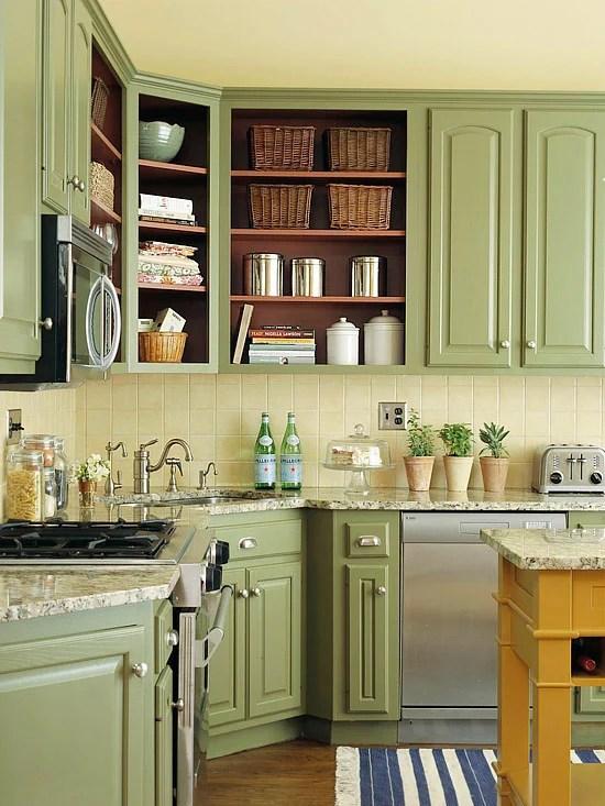 BH&G sage green cabinets