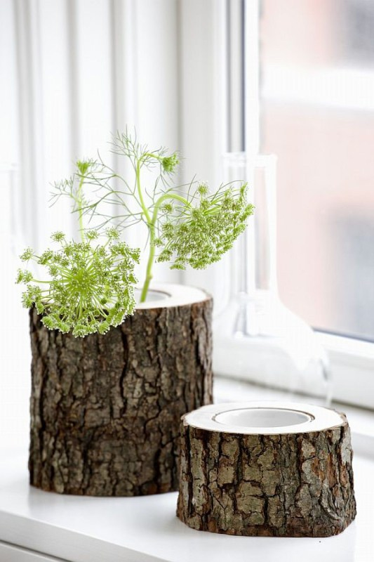 Decoist tree stump vases