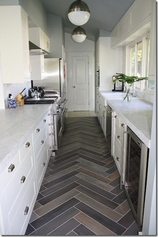 Design Dump herringbone tile floor
