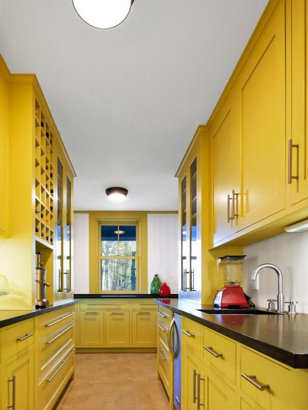 HGTV Remodels energetic yellow kitchen