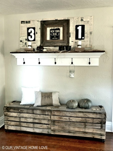 Our Vintage Home Love pallet benches