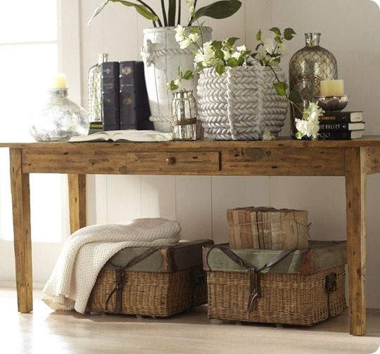 pottery-barn-keaton-console-table, how to decorate a console table