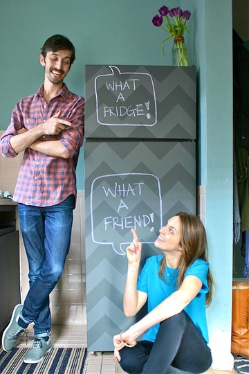 Apartment Therapy chevron chalkboard fridge