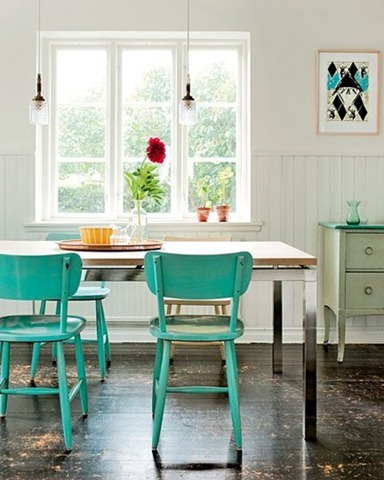Blue Dining room chairs Painted Accent Furniture