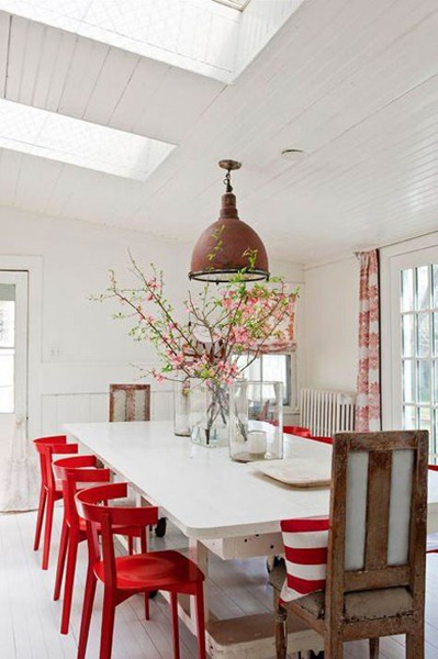 Red dining room Painted Accent Furniture
