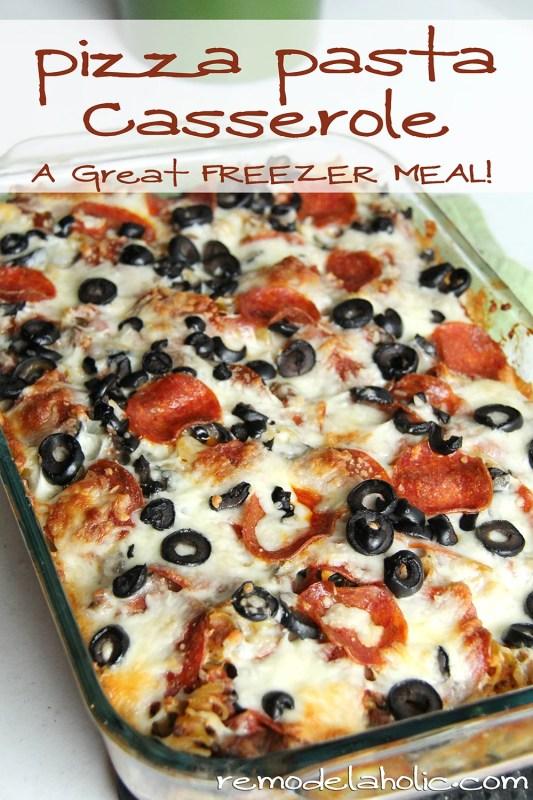 Pizza Pasta Casserole Recipe @remodelaholic #pizza #pasta #casserole #freezer_meal 2