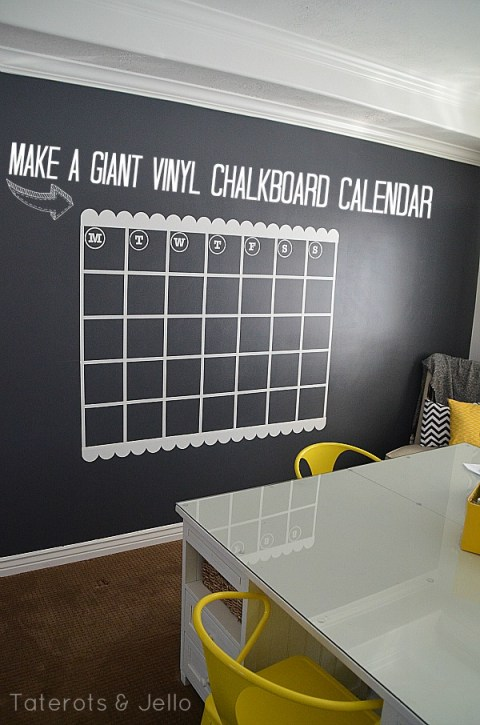 vinyl chalkboard paint wall calendar, Tatertots and Jello