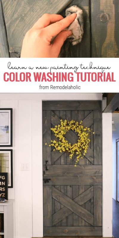 color washing paint technique, wood grain still shows, barn door #paint #barn_door
