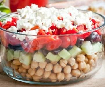 healthy summer recipes - layered greek chickpea salad