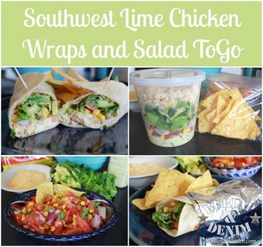 southwest lime chicken wraps and to-go salad