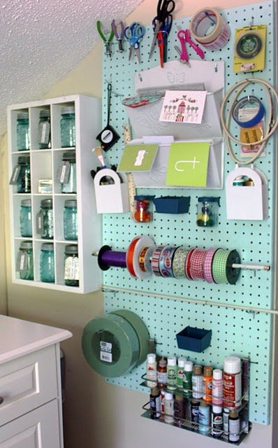 peg board crafting space