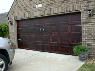 stained garage door, The Southern Family