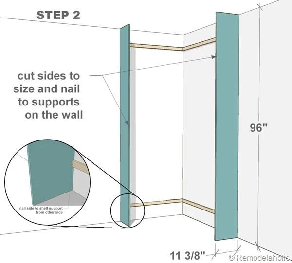 Plans for built-in corner bookshelf Step 2